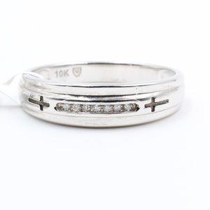 Other - Mens 10K White Gold Diamond Wedding Ring Band NEW